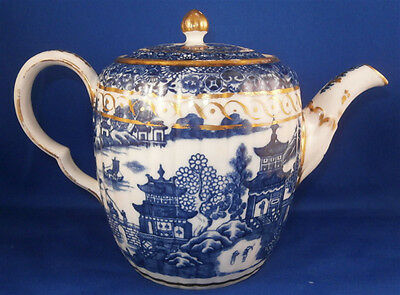 Rare 18thC Caughley Porcelain Temple Pattern Tea Pot Porzellan Kanne Teapot
