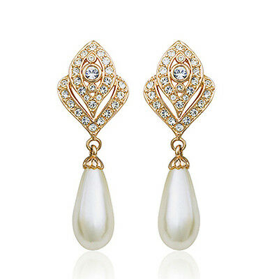 18K Gold Plated Genuine Austrian Crystal Dangle White Pearl Clip-On Earrings