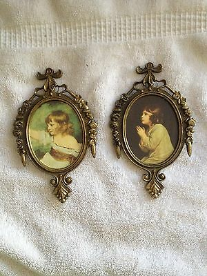 Antique Pictures...Ornate Metal Glass Frame- Italy- Set of 2