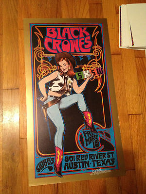 The Black Crowes 2001 SXSW Stubbs Concert Poster Signed Bob Masse