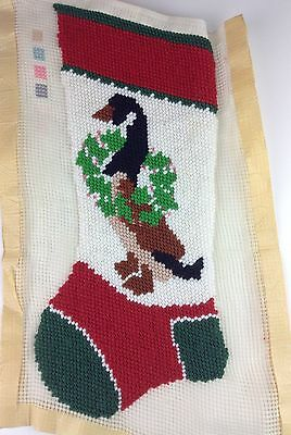 "Started Bernat Festive Goose Christmas Stocking Needlepoint 18"" X 8"" Approx"