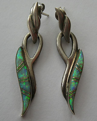 "ESTATE BOLD STERLING SILVER INLAID OPAL EARRINGS 5.7 GR HAND MADE 1 5/8"" ARTISAN"