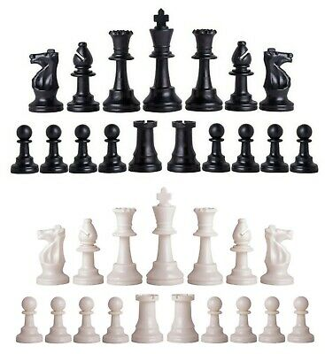 New Staunton Club Chess Pieces – Full Set of 34 Black & White - 4 Queens