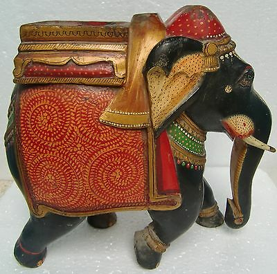 VINTAGE ASIAN HAND CARVED HAND PAINTED WOODEN ELEPHANT STATUE VERY ELEGANT INDIA