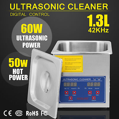 New Stainless Steel 1.3 L Liter Industry Heated Ultrasonic Cleaner w/Timer