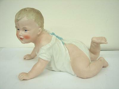"Antique German Bisque Piano Baby Doll Heubach Crawling baby boy  8""  20.5 cm"