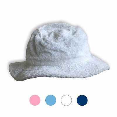 Terry Toweling Hat Towel Washable Fishing Sun Bucket White/navy/sky/pink