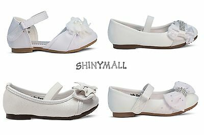 New Infant Toddlers Baptisms Christening Wedding Mary Jane Flats Shoes Whites