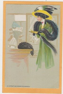 Advertising Postcard - Corset Schmidt #52 - Elegant Woman with Stole and Hat