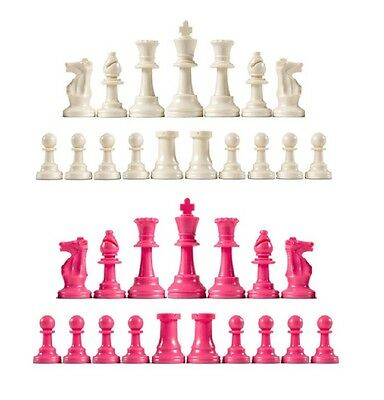 New Staunton Club Chess Pieces  Full Set of 34 White and Pink -  4 Queens