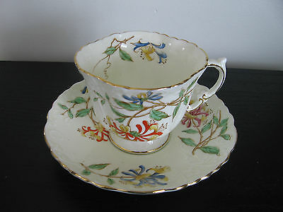Aynsley Emobossed Hand Painted Lily China Cup & Saucer