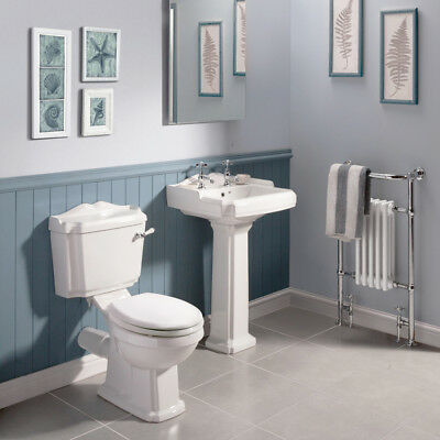 Traditional Style Close Coupled Victorian Toilet With Lever Handle Flush  White