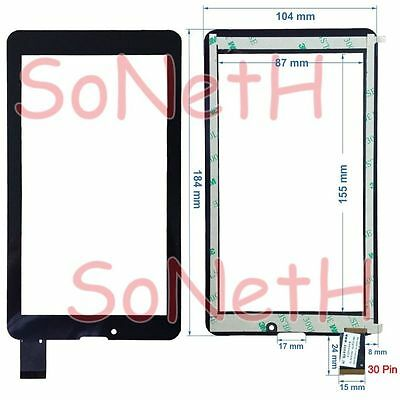 """Vetro Touch screen Digitizer 7,0"""" Majestic TAB 176 3G Tablet PC Nero"""