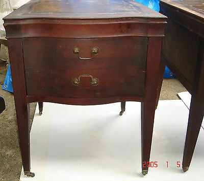 2-Antique Leather Top Mahogany End Tables/Night Stands, PICK-UP ONLY.