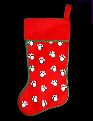 Xmas Santa Pet Cute Cat Dog Paw Print Design Red Stocking Gift Sack Bag Secret