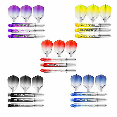 Target Pro Grip Vision Stems and Flights - Choice of Colour and Stem length