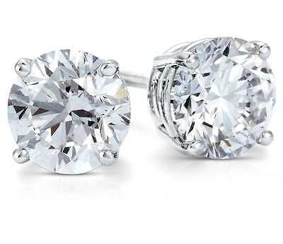 1 Ct Round Studs Earrings Solid 14K White Gold Brilliant Cut Screw Back Basket