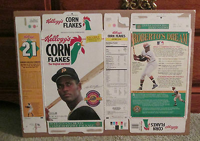 Vintage Corn Flakes Box With Roberto Clemente Shrink Wrapped Rare Bucs