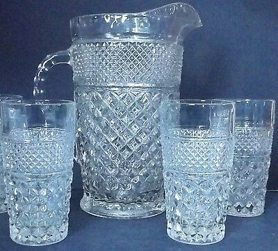 Vintage Anchor Hocking WEXFORD Pitcher and 4 Tumbler Glasses