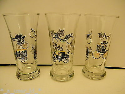 Libbey Vtg Curio Old Antique Vehicle Carriage Buggy Double Shot Glasses - Qty 3