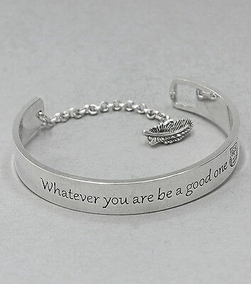 New Whatever You Are Be A Good One with Owl Message Bracelet ~ Silver Tone