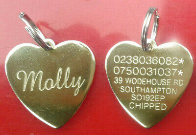 Engraved Pet Tags Dog Cat Puppy Heart ID Personalised Identity Disc Disk Brass