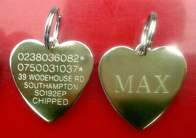 Engraved Pet Tag Brass Heart Cat Dog Puppy Pets ID Engraving Collar Tag FREEPOST