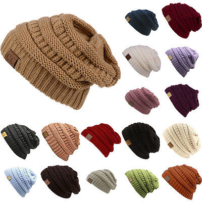 Men's Women's Chucky Stretch Cable Knit Slouch CC Beanie Skully Ski Hat Unisex