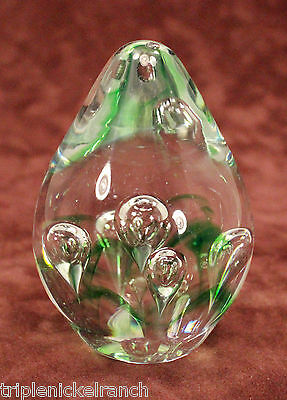 Teardrop Glass Paperweight Clear Green Droplets Globes Cone Blown Contemporary
