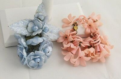 ANTIQUE ART DECO CELLULOID Jewelry BLUE FLOWER DANGLE BROOCH & PINK BRACELET