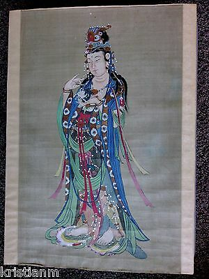 Beautiful 19th Century Japanese Painting of well dressed Asian Woman on Silk