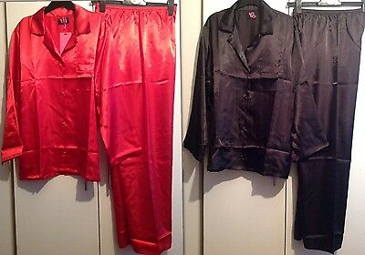 Ladies Satin  Pyjama Set Uk  Sizes 8/10,12/14,16/18  Red Or Black