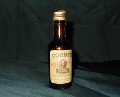 Rare miniature Corby's blended whiskey bottle from 1938-1946 maryland tax stamp