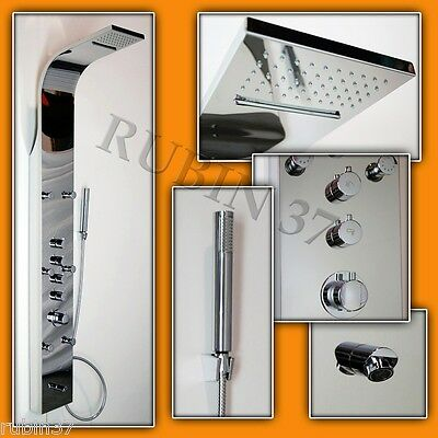 SHOWER PANEL COLUMN MASSAGE JETS THERMOSTATIC CONTROL  CHROME STAINLESS STEEL
