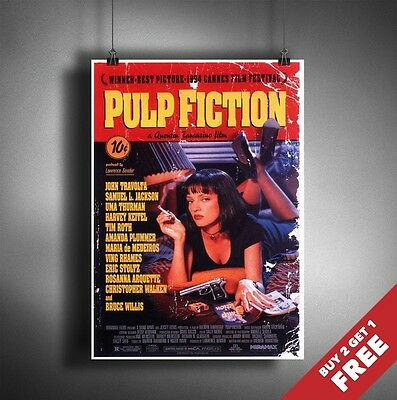 Pulp Fiction Movie Poster Classic Tarantino Cinema Film Wall Art Vintage A3 / A4