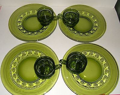 8 piece GREEN CROWN Snack Set Indiana Glass THUMBPRINT