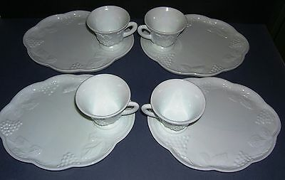 Grape and Leaf COLONY HARVEST MILK GLASS 8 PIECE SNACK SET by INDIANA GLASS Co.