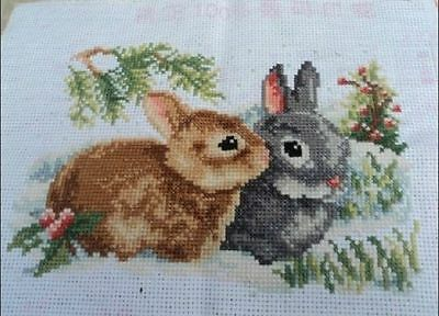 completed finished cross stitch  beautiful rabbits US FREE SHIPPING