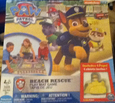 Paw Patrol BEACH RESCUE GAME & PLAY MAT Chase Rubble Rocky Marshall NEW HTF!!