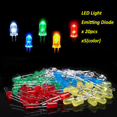 HOT SALE 100pcs 3mm 2PIN LEDs Light White Yellow Red Green Blue Assorted Kit DIY