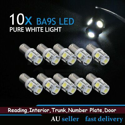 10x BA9S Bayonet 5050 LED Light White Car Interior Roof Read Plate Bulb Globes