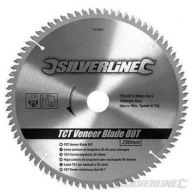 80T Fine Cut 250mm Circular Saw Blade Cutting Wood Concrete Chipboard 244964