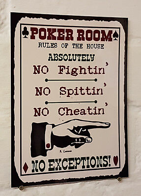 POKER ROOM rules of the house metal Aluminium Sign bar pub man cave beer signs