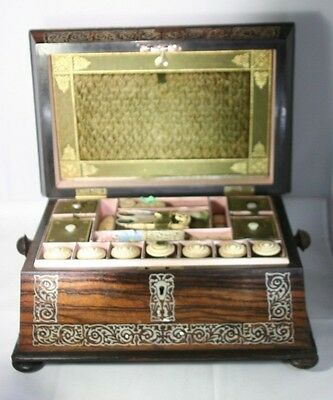 Mother-of-Pearl Tools &INLAID SEWING BOX MAHOGANY& silk Original ANTIQUE c1800's
