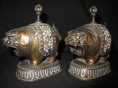 """PAIR CHINESE CLOISONNE ENAMEL STATUE OF FOO LIONS, 7 1/2"""" H, QING DYNASTY"""