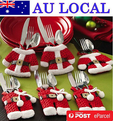 6 Pcs Santa Claus Christmas Cutlery Holder Decor Fork Utensil AU Local Postage