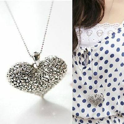 Womens Carved Vintage Silver Tone Heart Shape Pendant Necklace Long Chain simple