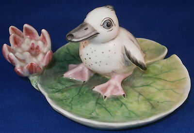 Cute Nymphenburg Porcelain Duck / Penguin Lily Pad Figurine Porzellan Figur