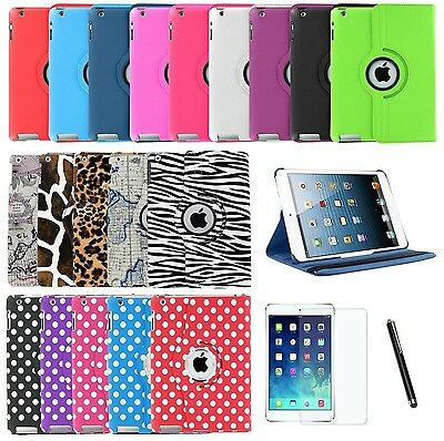 For iPad Air 1 1st Gen 360 Rotating PU Leather Case Cover w/ Stand +Stylus