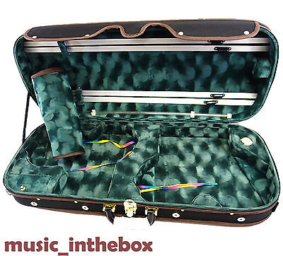 Good Quality Beautiful Pro. 4/4 Wooden Two Double Violin Case+free strings set